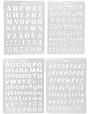 Okayji Multi Pattern Writing Letter Edge Decor Drawing Template Stencils Craft, 4- Pieces