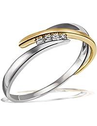 Goldmaid Damen-Ring Bicolor 585 Gelbgold rhodiniert Diamant (0.05 ct) und 925 Sterlingsilber 4 Brillanten