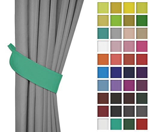 Rollmayer 2er Pack Vorhänge mit Tunnelband Kollektion Vivid (Mint 47, Drapierung) Blickdicht Uni einfarbig Gardinen Schal für Schlafzimmer Kinderzimmer Wohnzimmer 2 Stück -