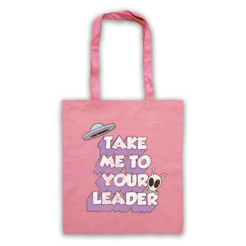 Take Me To Your Leader Funny Slogan-Borsa Sci Fi Rosa