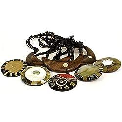 AW Collares De Madera Y Concha, Cuerda, Beige, 30 x 9 x 30 cm, 5