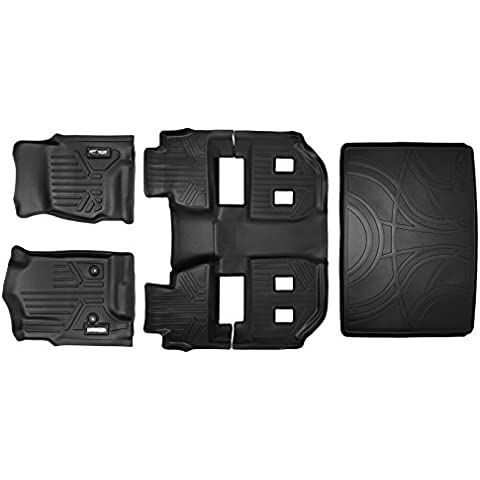 MAXLINER Custom Fit Floor Mat and Cargo Liner for Select Chevrolet Suburban/GMC Yukon XL Models - (Black) (3 Row Set Behind Third Row) by MAXLINER