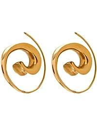 81stgeneration Frauen Männer Messing Gold Ton Ethnic Tribal Spiral Ohrringe