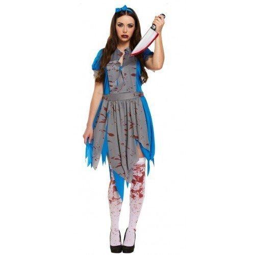 Damen Halloween Horror Alice in Wonderlamd Zombie-Kostüm, Größe - Damen Größe 10-12 Halloween-kostüme
