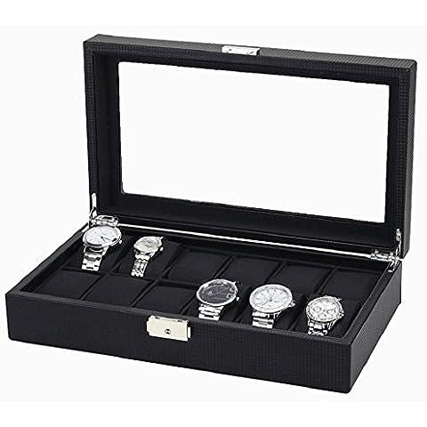 Sannysis Cajas para relojes Joyería con 12 compartimentos, color negro