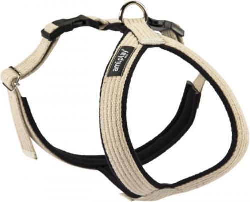 A-PLAY COTTON AHGSC Regulierbares Brustgeschirr Hundebrustgeschirr Hunde Öko (M(34x49-59 cm), Beige)