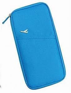 NOV@GO® Organisateur/Organiseur de voyage, de porte passeport, de billet, de monnaies, de cartes (Grand Modèle, Bleu ciel)