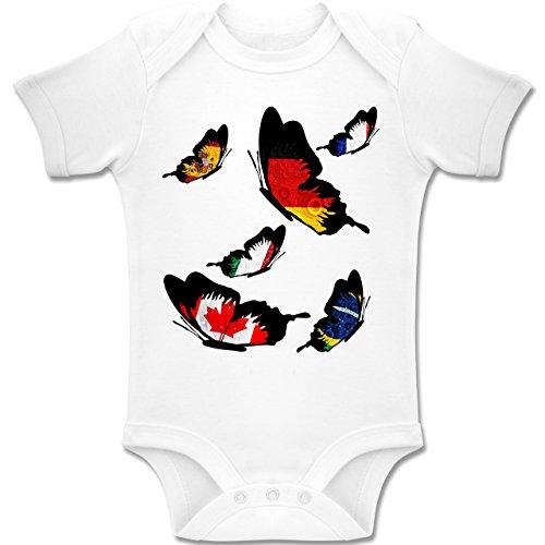 Shirtracer Fußball-Weltmeisterschaft 2018 - Baby - WM Länder Schmetterlinge - 12-18 Monate - Weiß - BZ10 - Baby Body Kurzarm Jungen Mädchen (Bio-baby-body Butterfly)