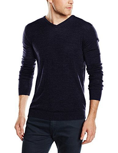SELECTED HOMME SHDTOWER MERINO V-NECK NOOS, Felpa Uomo, Blu (Navy Blazer), Medium