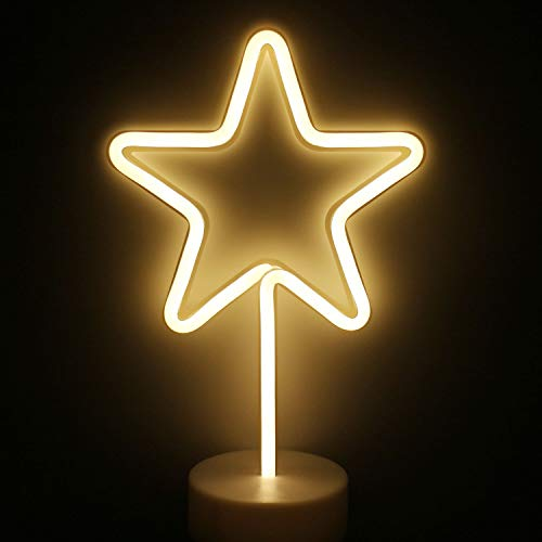 XIYUNTE LED Stern Neonlicht Zeichen - Warmes Weiß Leuchtschilder Zimmer Dekor Lampe Licht Stern Zeichen geformt Dekor Licht Schlummerleuchten für Weihnachten,Geburtstagsfeier,Kinderzimmer,Wohnzimmer