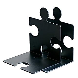 HAN CD-Ständer & Buchstütze PUZZLE 9212-13 in Schwarz / Standfester, kombinierbarer Stehsammler in modernem Puzzle-Look / Für CDs, Bücher & DVDs