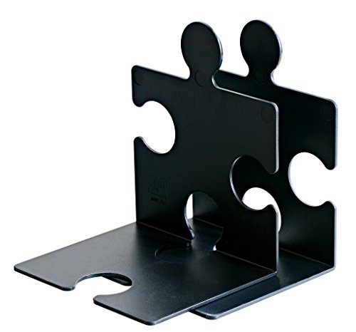 HAN CD-Ständer & Buchstütze PUZZLE 9212-13 in Schwarz / Standfester, kombinierbarer Stehsammler in modernem Puzzle-Look / Für CDs, Bücher & DVDs -