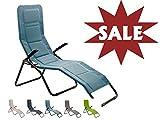 Meerweh Sale Aluminium Luxus Gartenliege EXTRA HOCH, Sitzhöhe ca. 43 cm, Bäderliege Saunaliege, blau
