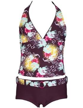 Olibia Mar - moderner Mädchen Tankini mit Panty-Short, braun / aubergine mit Blumenmuster -- Oeko-Tex® Standard...