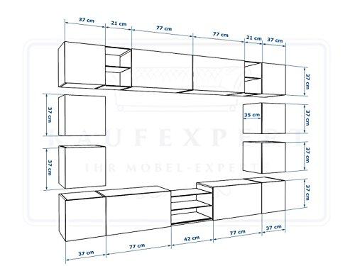 Wohnwand E Weiß Hochglanz✔ Gehärtetes Glas ✔ ABS- Kanten ✔ Kanten in Hochglanz ✔ MDF-Fronten ✔ LED Beleuchtung ✔ Push To Open ✔ Grifflos ✔ Modern ✔ Design ✔neue bessere Version (anderer Hersteller) - 2