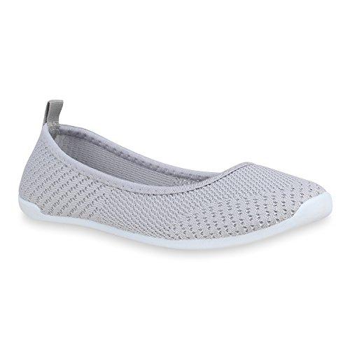 Damen Slippers Slip Ons Strick Flats Freizeit Schuhe Ballerinas 160152 Grau 40 Flandell