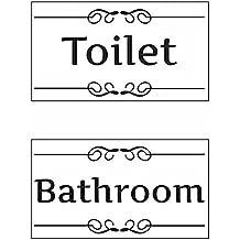 2 Pcs Autocollant Sticker Toilet Bathroom de Salle d'Eau Décoration Porte