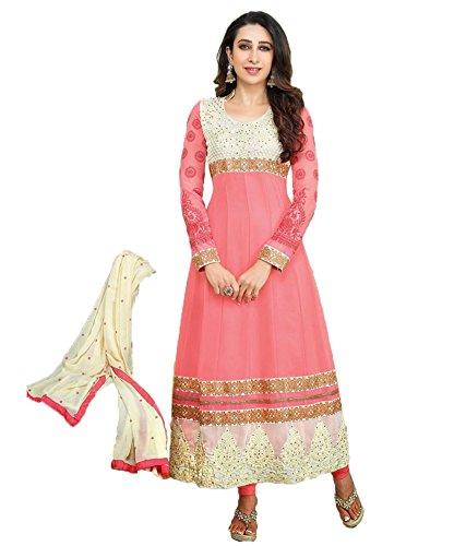 Mrig Womens Faux Georgette Anarkali Dress Material (El30016 _Pink _Free Size)