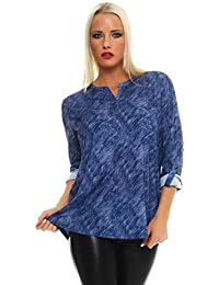 BENTER Damen Bluse Oberteil Shirt schraffiertes Fischerhemd Baumwolle Langarmbluse Casual Regular Fit 16962