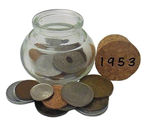 64. Geburtstag - ein Glas mit Münzen von 1953 - Symbolisch wertvolles Geschenk – NOSTALGIE