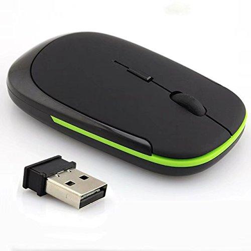 Buytra - Ratón óptico inalámbrico mini y ultra delgado (2,4 GHz, para portátiles), color negro