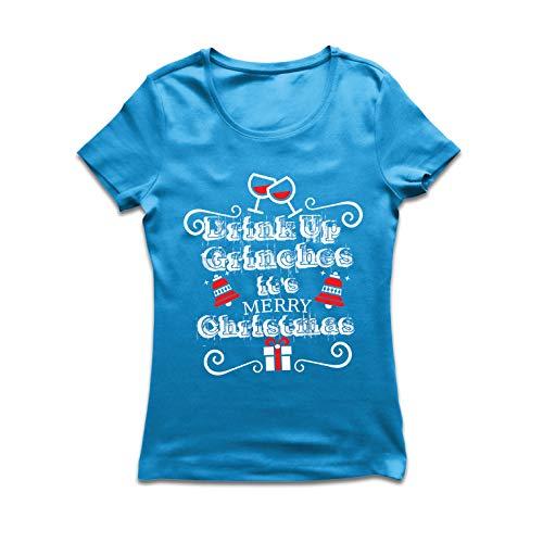 lepni.me Frauen T-Shirt Trinken Sie Grinches - Frohe Weihnachten (XX-Large Blau Mehrfarben) (Fitted T-shirt Trinken Team)