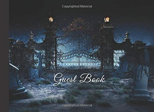 Guest Book: Spooky Cemetery Gate Halloween Wedding Party Sign In Book