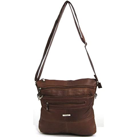 Womens Super Soft Nappa Leather Shoulder Bag / Handbag ( Tan )