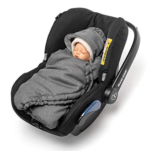 Imagen para Zamboo - Manta Envolvente bebé acolchada, con capucha y bolsa - Arrullo forro polar térmico Sillas Grupo 0+ (se adapta a Maxi-Cosi / Cybex / Recaro) - Gris