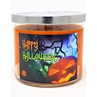 Pumpkin Spice Candle ~ Happy Halloween Large 3 Wick Scented Soy Wax Candle ~ Made in USA (Large 3 Wick Orange Pumpkin Spice)