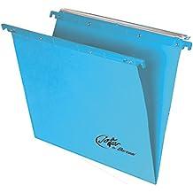 Bertesi - Lote de 25 archivadores colgantes para cajón, fondo en V, color azul