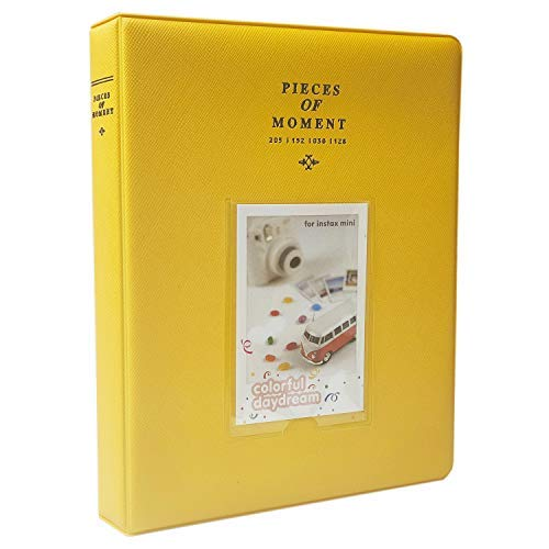 CAIUL Stücke von Moment Mini Foto Album Für Mini 8 8+ 9 70 7s 90 25 26 50s Film (128 Fotos,Gelb)