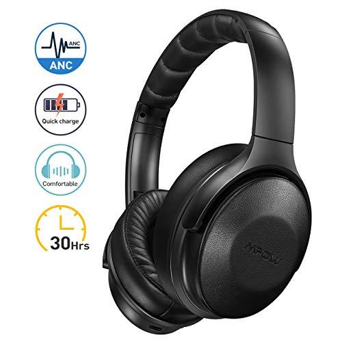 Mpow H17 Noise Cancelling Kopfhörer, Bluetooth Kopfhörer Over Ear mit Schnellladung, [Bis zu 30 Std] Wireless Hi-Fi Stereo Kopfhörer, ANC-Kopfhörer mit Weichen, echten Protein-Ohrpolstern