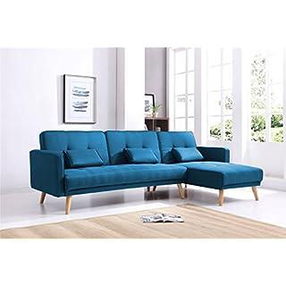 Bestmobilier - SCANDINAVE - Canapé d'angle réversible Convertible - 267x151x88cm - Bleu
