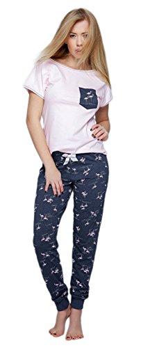 Sensis stillvoller Baumwoll-Pyjama Schlafanzug Hausanzug aus feinem T-Schirt und bequemer Hose, made in EU (XL (42), rosa/dunkelblau mit Flamingos)