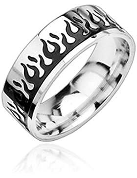 Paula & Fritz® Ring aus Edelstahl Chirurgenstahl 316L silber 8mm breit mit schwarzem Flammenmotiv verfügbare Ringgrößen...