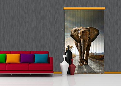 AG Design Diseño AG FCS L 7507 cortina, cortina, ropa, cortinas Photo Print Elefant, 140 x 245 cm, 1 pieza