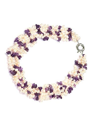 StunningBoutique con perle d'acqua dolce coltivate, elegante chiusura in argento Sterling, con ametista, ideale per regalo