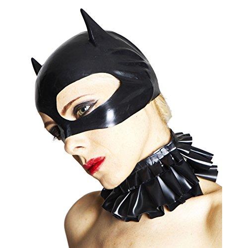 Catwoman Maske, Latex Maske mit spitzen Ohen mit veredelter Oberfläche nicht chloriert für Frauen und Herren Menge: 1 Stück schwarz Einheitsgröße ()