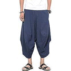 FTIMILD - Pantalón Bohemio de algodón con Bolsillos para Hombre Azul Azul Marino M