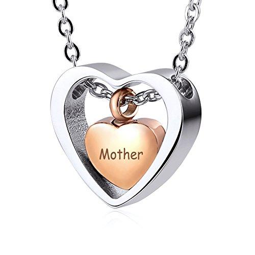 AieniD Collar para Guardar Cenizas Trampa En Forma De Corazón Amor Grabado Madre