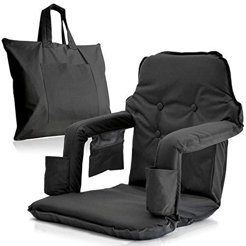 Tragbar Stadion Stuhl für Bleachers-Extra Breit Modell Deluxe + kostenlose Carry/Storage Bag-wasserabweisend + Gepolsterter Rücken & Armlehne + 2Getränkehalter Smart Ideas 4Life, schwarz - 2 Stück Patio Kissen