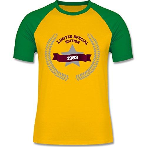 Geburtstag - 1983 Limited Special Edition - zweifarbiges Baseballshirt für Männer Gelb/Grün