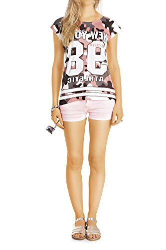 Bestyledberlin Damen Jeansshorts, Super kurze Stretch Hotpants, Mini Shorts, Kurze Baumwoll Hosen j33k Hellbraun