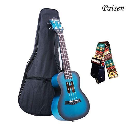 Paisen 23-Zoll-Cute Blue Konzert Ukulele Bestes Geschenk für Anfänger und Kinder mit Ukulele-Tasche, Gurt, lernen, Kit zu spielen