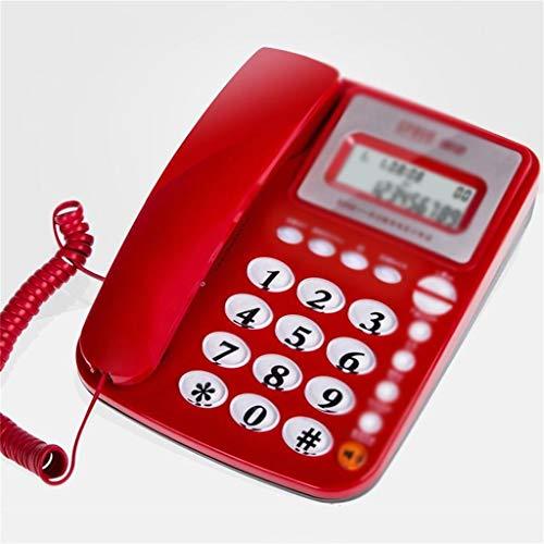 JFFFFWI Festnetzanschluss mit Anruferkennung für das Büro zu Hause, HD-LCD-Bildschirm, energiesparend, dunkelblau, rot, weiß (Farbe: ROT)