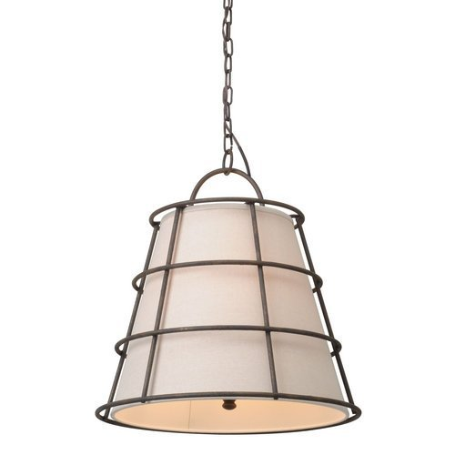 Troy Lighting Habitat 3-Light Pendant - Liberty Rust Finish with Hardback Linen Shade by Troy