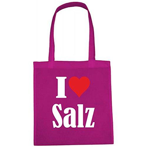 Tasche I Love Salz Größe 38x42 Farbe Pink Druck Weiss - Markt Salz
