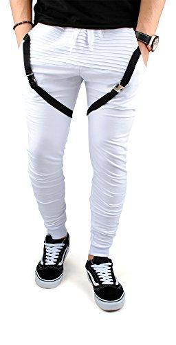 FiveSix Herren Jogginghose Freizeithose Sporthose Trainingshose Fitnesspants Gesteppt Schnalle Sweatpants Hose Weiß
