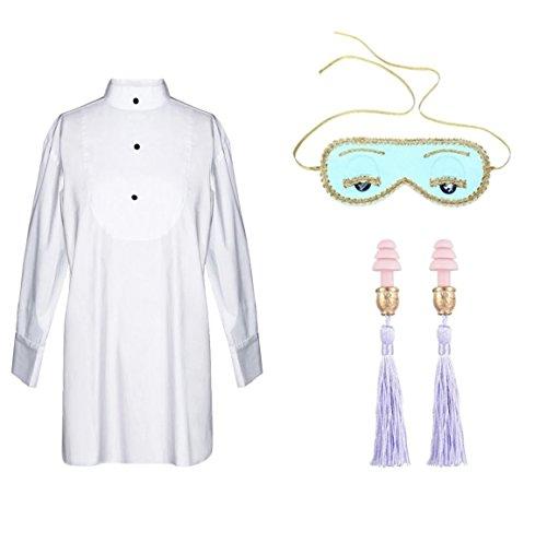 Audrey Hepburn Frühstück bei Tiffany der komplette Schlaf Set Holly Golightly Kostüm Schlafmaske, Ohrstöpsel und Smoking Schlaf Shirt, (Original)